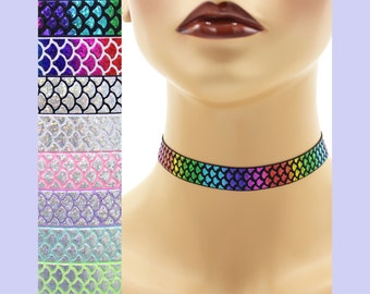 Shimmering Scales Elastic Choker 5/8 inch wide Custom necklace Mermaid tail Dragon Snakeskin metallic silver iridescent rainbow holographic