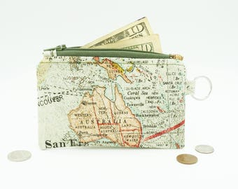 Map Change Purse, Small Map Wallet, Travel Lanyard Wallet, Zip Pouch, Travel Lover Gift