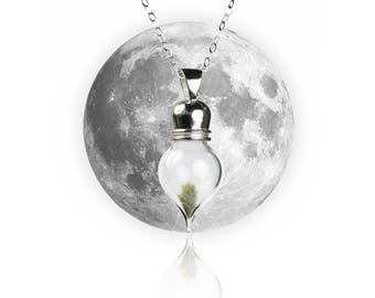Sterling Silver REAL Moon Dust Meteorite Necklace - Tear