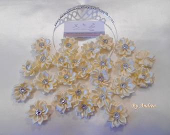 5 x satin flowers, off-white, ivory, white with Rhinestones.