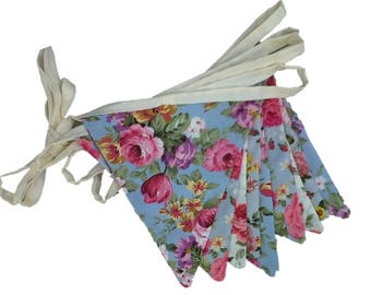 English Vintage Floral Shabby Chic Double Sided Cotton Bunting