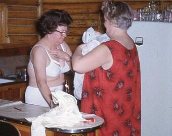 Vintage 35mm Photo Slide Whimsical Older Woman Bra Underwear