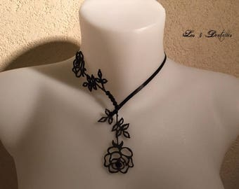 Pink black motive wedding tattoo necklace fine * 3 lace *.