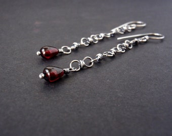 Garnet Earrings ~ Delicate Handcrafted Chain Links with Dark Blood Red Crystal Teardrops ~ Eco-Recycled Sterling Silver ~ Gothic ~ Victorian
