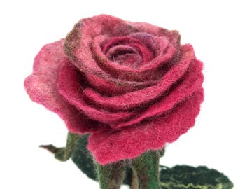 Roses Forever: Beautiful Pink Rose, Artificial Rose, Symbolic Gift, Statement Flower, Love Symbol, Organic and Sustainable Gift, Textile Art