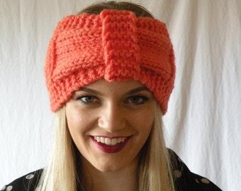 Chunky Cozy Knitted Turban Headband TomatoOrange Womens Accessory