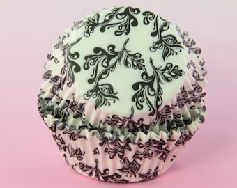 Black and White Cupcake Liners Ivy, 2'' Standard Size, Baking Cups Bulk