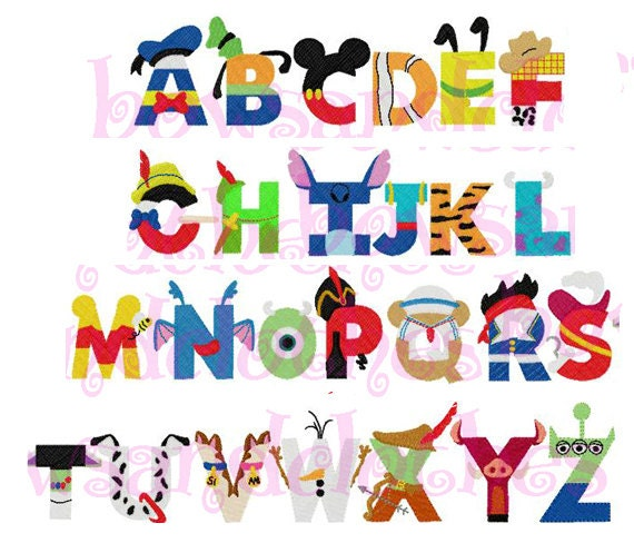 Disney inspired letters font embroidery design instant