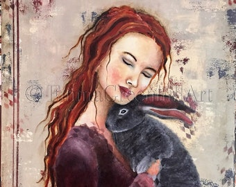 """Emma Greenhill Art print """"Alice"""" Matted print on heavy watercolor paper"""