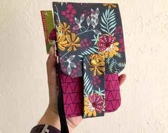 Botanical and Floral Print Wallet- Phone Wallet with Card Slots and Zipper- Leather Wrist Strap