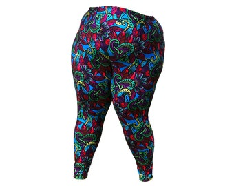 Cool Colors Paisley Leggings - Limited edition brightly coloured paisley print leggins tights big size range