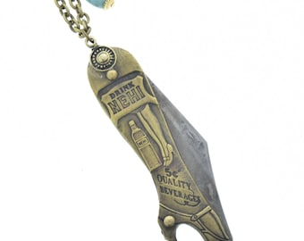 Nehi pocket knife , necklace solid brass with steel blace, sold by each K514