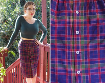 "TAHOE Blue 1970's 80's Vintage Long Navy + Red Plaid Wool Pencil Skirt with Button Front // by Lady THOMSON // size Small // 27"" Waist"