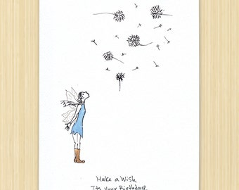 Birthday card, Fairy card, Make a Wish, It's Your Birthday, Handmade birthday card