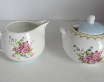 Fine China Sugar Bowl and Creamer from The English Table