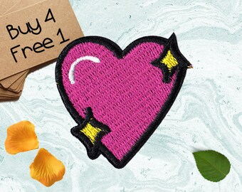 Pink Heart Applique Iron On Embroidered Patches