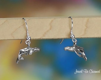 Humpback Whale Pierced Earrings Sterling Silver Fishhook Solid .925