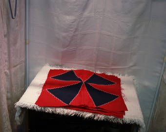 """8 Vintage Homemade Machine and Hand Sewn Quilt Squares, 16"""" X 17"""", Red and Blue"""