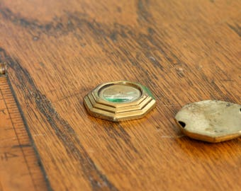 Vintage brass hollow cabochon, octagon shaped. Priced per piece. Beadwork, Jewelry making, Jewelry supply.
