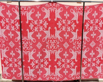 Turkey Red/White Reversible Homespun Coverlet Bedspread Jacquard Woven Cotton Doves 76x54