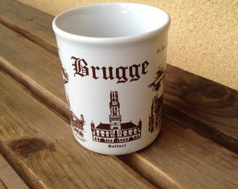 Belgium Mug, Brugge Mug, Brugge Belgium Mug, Belgium Cup, Belgium Memorabilia, Brugge Memorabilia, Stoneware Mug, Belgium Stoneware Mug