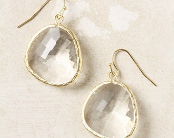 Clear Crystal or Ocean Blue Bezel Earrings - Lovely for Everyday Wear or a Perfect Gift