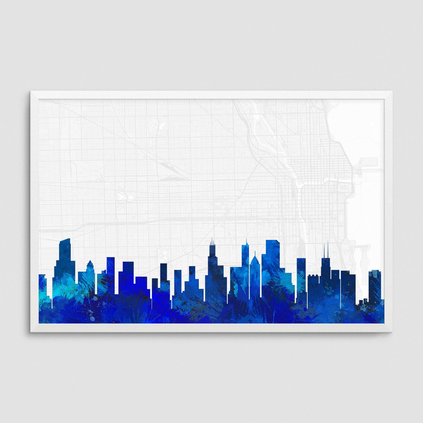 Oficina de impresión de arte acuarela azul paisaje de Chicago