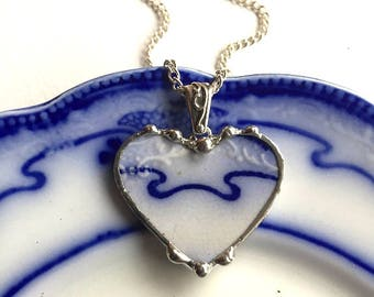 1880's Broken China Jewelry Heart Pendant necklace antique, Art Nouveau, Victorian flow blue china, recycled china, Dishfunctional Designs