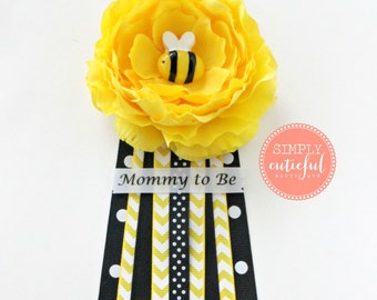Yellow Bumble Bee Baby Shower Corsage with Mommy to Bee Grandma to Bee and Custom Pins Badge Mommy Pin Baby Shower Pin