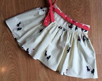 Toddler girls size 2 Cream Cotton and Steel Breeze print Mem Rose Skirt
