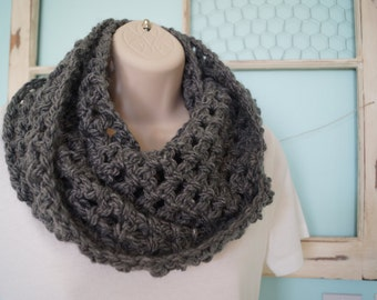 Gray Scarf, Gray Cowl, Crocheted Scarf, Charcoal Scarf, Gray Infinity Scarf, Crocheted Infinity Scarf, Crocheted Cowl