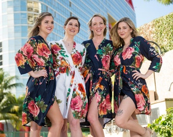 Special Sale - Navy Blue Large Floral Blossom Bridesmaids Robes | Kimonos. Bridesmaids gifts. Getting ready robes. Bridal Party Robes