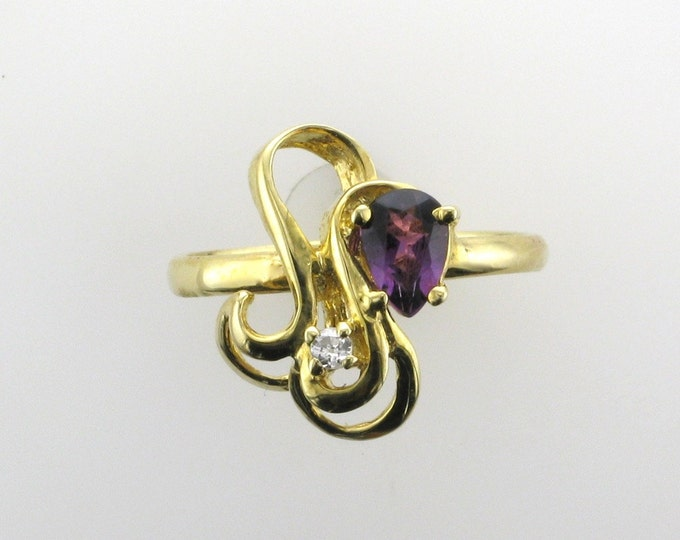 Yellow Gold Amethyst and Diamond Ring; Vintage Amethyst Ring; Pear Shaped Amethyst Ring; February Birthstone Ring, Birthstone Ring