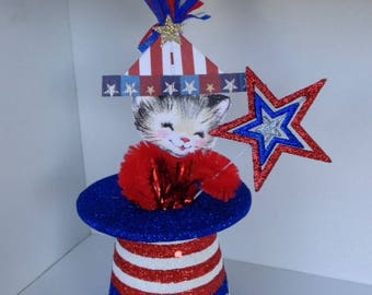Fourth of July Decoration Independence Day Ornament Chenille Kitten Top Hat July 4 Patriotic