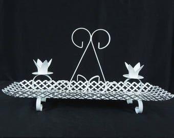Vintage White Metal Mesh Candle Holder. Mid Century (2) Candleholder. Shabby Chic. Christmas Decor.