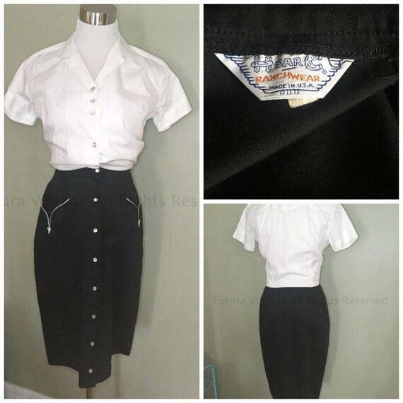 "Vintage H BAR C Black Western Cowgirl Skirt Pearl Snap Front High Waist Arrow Pockets-24"" waist"