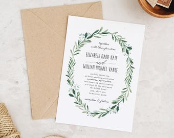 Greenery Wedding Invitation Template, Printable Wedding Invitations, Invitation Suite | Edit in Word or Pages