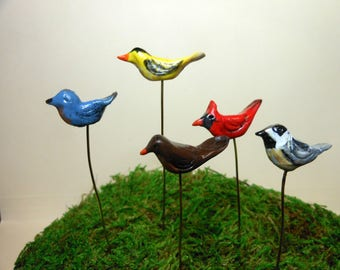 Birds-Small Birds-Choice of 5 different birds on a removable wire-OOAK-Polymer Clay Birds-Blluebird/Goldfinch/Robin/Cardinal/Chickadee