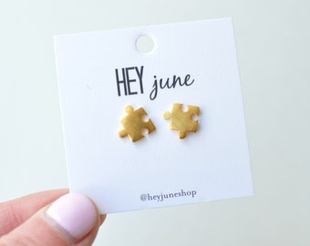 puzzle earrings, gold puzzle earrings, toy earrings, fun earrings, puzzle studs, playful earrings, silver puzzle earrings