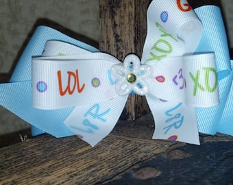 Blue and White Texting Stacked Grosgrain Hair Bow