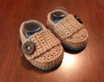 Crocheted Baby Loafers Crocheted Booties Baby Boy's Shoes Baby Booties Brown Baby Loafers Brown and Blue Booties