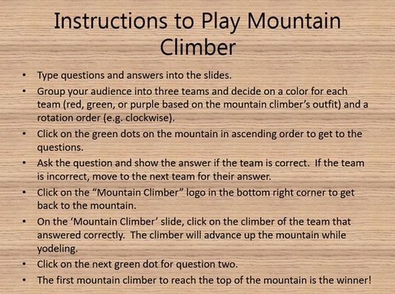 Powerpoint Game Template Plays Like Price Is Right Mountain