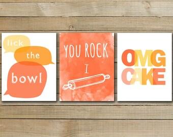 BAKING TRIO - inspirational quote art poster - kitchen art printable - kitchen typography art
