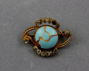 Victorian Gold Filled Persian Turquoise Art Glass Paste Pin Brooch