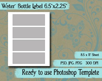"Scrapbook Digital Collage Photoshop Template, Water Bottle Label Template 6.5"" x 2.25"""