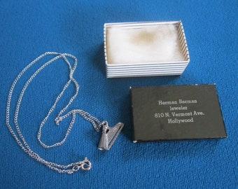 Vintage 1960s Sterling Silver NOS Necklace No.1 with Harp Charm Pendant New Old Stock