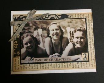 NEW Handmade Card Featuring Vintage Photo Three Girlfriends at Beach