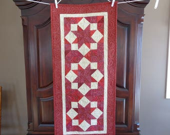 Red Patchwork runner, Country table runner, 0225-03