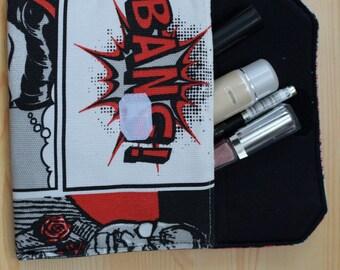 Superhero coin purse,hero pouch,comic print,pop art bag,marvel purse,redbag,coin purse,fabric purse,printed bag,makeup pouch,wonderwoman