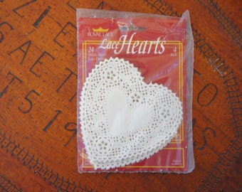 Vintage 80s Unopened White Heart Paper Doilies Wedding decor Valentines decor